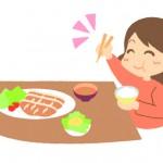 寝る前に食事する女性